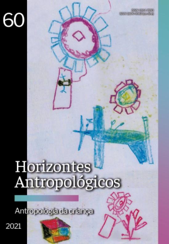Descrição da imagem: a capa traz desenho infantil de uma aldeia indígena vista do alto. Desenho com giz de cera sobre folha sulfite branca. Fim da descrição.