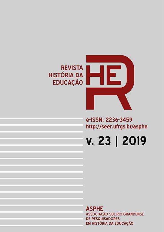 Capa da Revista História da Educação - volume 23, 2019.