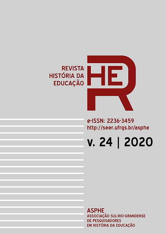 Capa da Revista História da Educação - volume 24, 2020.
