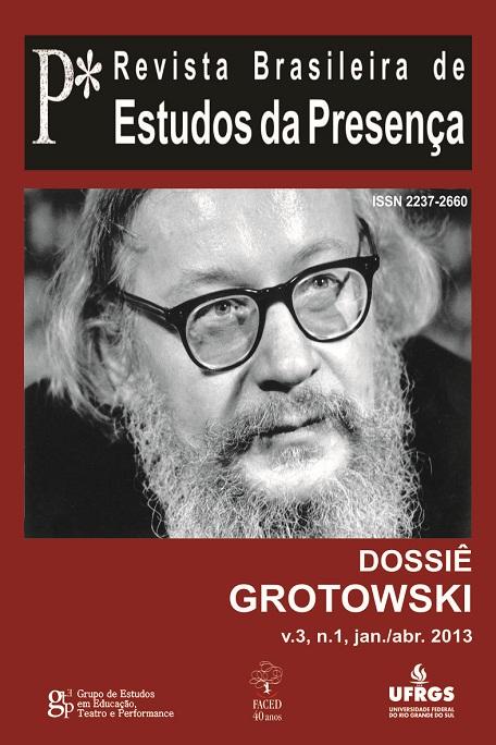 Capa volume 3 número 1 Dossiê Grotowski